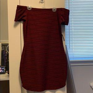Burgundy off shoulder dress